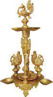 Brass Gift Center Deepak with Hen Design Brass Table Diya(Height: 12 inch)