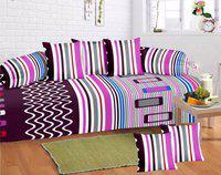 HFI Cotton Striped Diwan Set(1 SINGLE BED SHEET, 5 CUSHION COVERS, 2 BOLSTER COVERS)