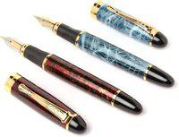 Ledos JINHAO TRENDY RED & BLUE MARBLE FASHION DESIGNER Fountain Pen(Pack of 2)