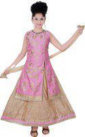 Saarah Girls Lehenga Choli Ethnic Wear Self Design Lehenga Choli(Pink, Pack of 1)
