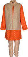 A Little Fable Boys Casual Kurta and Pyjama Set(Orange Pack of 1)