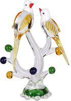 Afast Afast Crystal Loving Birds Couple Relaxing On A Well-Favoured Tree Showpiece  -  13 cm(Glass, Clear, Yellow, White)