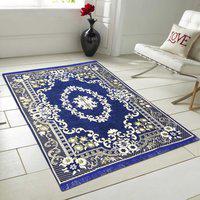 Hargunz Blue Chenille Carpet(152 cm X 214 cm)