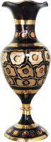 Brass Gift Center Flower pot with Handwork Brass Vase(7.5 inch, Yellow, Black)