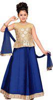 Adiva Girl's Cotton blend Solid Sleeveless Lehenga choli - Multi
