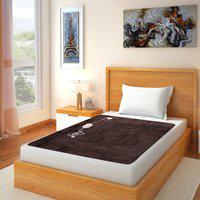 Home Elite Plain Single Electric Blanket(Polyester, Brown)
