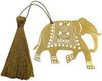 Skywalk Art & Craft Elephant Metal Bookmark with Tassel,Pendant Charm, School Supplies Page Holder Charm - Golden Color Bookmark Bookmark(Elephant, Gold)