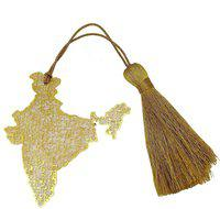 Skywalk Art & Craft India Map Metal Bookmark with Tassel,Pendant Charm, School Supplies Page Holder Charm - Golden Color India Map Metal Bookmark Bookmark(India Map Metal Bookmark, Gold)