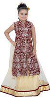 Saarah Girls Lehenga Choli Ethnic Wear Self Design Lehenga Choli(Brown, Pack of 1)