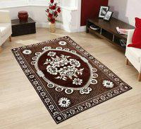 Stella Creations Brown Cotton Carpet(121 cm X 183 cm)