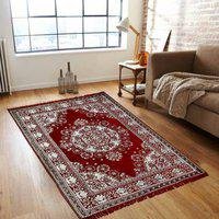 Stella Creations Maroon Cotton Carpet(121 cm X 183 cm)
