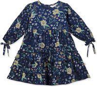 Budding Bees Girls Midi/Knee Length Casual Dress(Blue, 3/4 Sleeve)