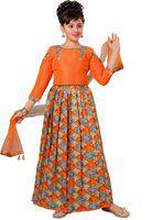 Adiva Girls Lehenga Choli Party Wear, Ethnic Wear Self Design Lehenga, Choli and Dupatta Set(Orange, Pack of 1)