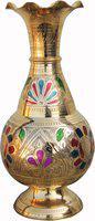 Brass Gift Center Flowerpot with Hand work Brass Vase(10.3 inch, Multicolor)