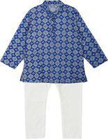 BownBee Boys Festive & Party Kurta and Pyjama Set(Blue Pack of 1)