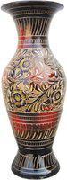 Brass Gift Center Brass Flower Vase Pot with Handwork Brass Vase(7.5 inch, Multicolor)