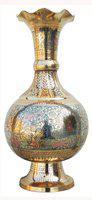 Brass Gift Center Flower Vase Pot with Handwork Brass Vase(12 inch, Blue)
