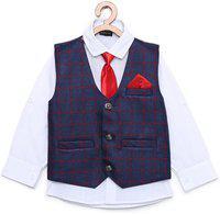 AJ Dezines Kids Shirt and Waistcoat Clothing Set For Boys (201_RED_BLUE_10)