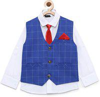 AJ Dezines Kids Shirt and Waistcoat Clothing Set For Boys (201_ROYAL_BLUE_1)