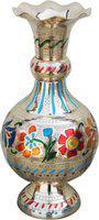 Brass Gift Center Flower Vase With handwork Multicolour Brass Vase(10.7 inch, Multicolor)
