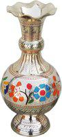 Brass Gift Center Flower Vase With Handwork in Multicolur Brass Vase(10.7 inch, Multicolor)