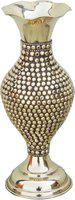 Brass Gift Center Brass Flower vase Studded with Brass Beads Brass Vase(10.5 inch, Yellow, Brown)