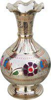 Brass Gift Center Flower vase With Handwork Multicolor Brass Vase(7.8 inch, Multicolor)