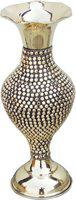 Brass Gift Center Brass Flower vase Studded with Brass Beads Brass Vase(13 inch, Yellow, Brown)