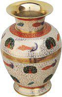 Brass Gift Center Brass Flower Vase With handwork Multicolo Brass Vase(8 inch, Multicolor)