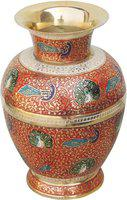 Brass Gift Center Brass Flower vase With handwork Multicolor Brass Vase(8 inch, Multicolor)
