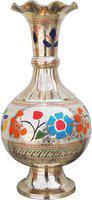 Brass Gift Center Flower Vase Pot Vase with Handwork Brass Vase(12 inch, Multicolor)