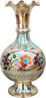 Brass Gift Center Flower Pot Vase with Handwork Brass Vase(13 inch, Multicolor)