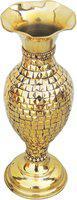 Brass Gift Center Brass Flower vase Studded with Brass Beads Brass Vase(11.3 inch, Yellow)