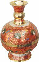 Brass Gift Center Brass Matka Shape Flower Vase With Handwork Multicolor Brass Vase(11.2 inch, Multicolor)