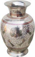 Brass Gift Center Brass Flower vase With Handwork Multiv Brass Vase(8 inch, Multicolor)