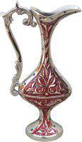 Brass Gift Center Brass Surahi Shape Flower Vase With Handwork Brass Vase(7 inch, Multicolor)