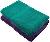 Akshaan Texo Fab Cotton 450 GSM Bath Towel(Pack of 2, Purple, Green)