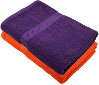 Akshaan Texo Fab Cotton 450 GSM Bath Towel(Pack of 2, Orange, Purple)