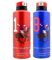 Beverly Hills Polo Club Sport Deo no. 1 and 8 Deodorant Spray  -  For Men(350 ml, Pack of 2)