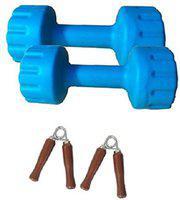 Aurion PVC DUMBBELL 8 KG (4 KG X 2) combo offer with hand grip (Blue) Adjustable Dumbbell(5 kg)