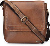 Teakwood Fashionable Leather Bags Sling (Brown)