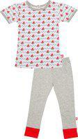 Nino Bambino 100% Pure Organic Cotton Round Neck Short Sleeve Printed Top & Full Length Shorts Multicolor Top & Bottom Set for Baby Girls