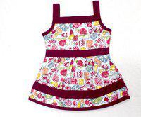 Adt Saral Girls Mini/Short Casual Dress(Purple, Noodle strap)