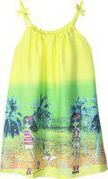 Caca Cina Girls Midi/Knee Length Casual Dress(Yellow, Sleeveless)