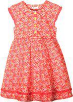Caca Cina Girls Midi/Knee Length Casual Dress(Orange, Cap Sleeve)