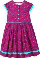Caca Cina Girls Midi/Knee Length Casual Dress(Multicolor, Cap Sleeve)