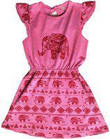 KiddoPanti Girls Mini/Short Casual Dress(Pink, Cap Sleeve)
