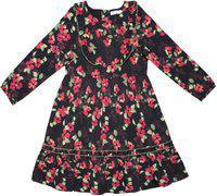 Caca Cina Girls Midi/Knee Length Casual Dress(Black, Full Sleeve)