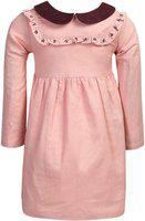 ShopperTree Girls Midi/Knee Length Party Dress(Pink, Full Sleeve)