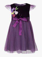 NautiNati Girls Midi/Knee Length Casual Dress(Purple, Cap Sleeve)
